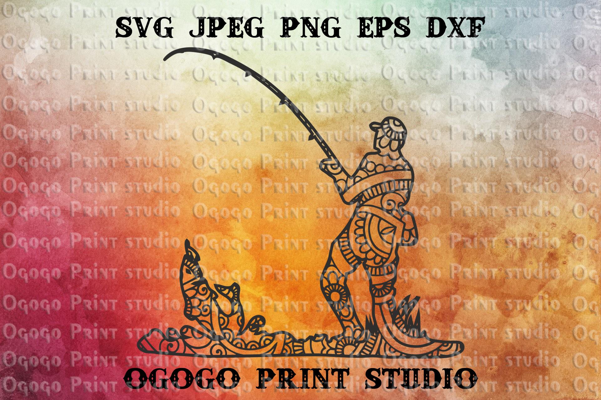Fishing SVG, Zentangle Svg, Mandala SVG, Fathers day svg example image 1