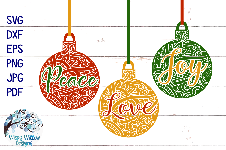 Peace Love Joy Mandala SVG | Christmas Ornament SVG Bundle example image 2