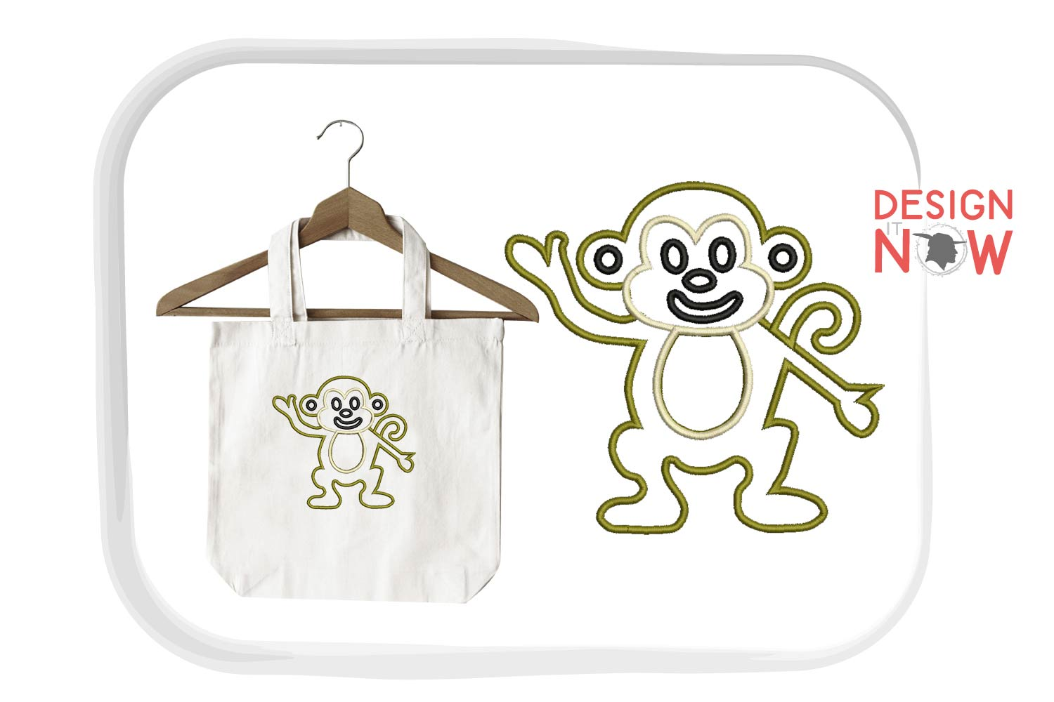 Monkey Applique Embroidery Design, Monkey Embroidery Pattern example image 1