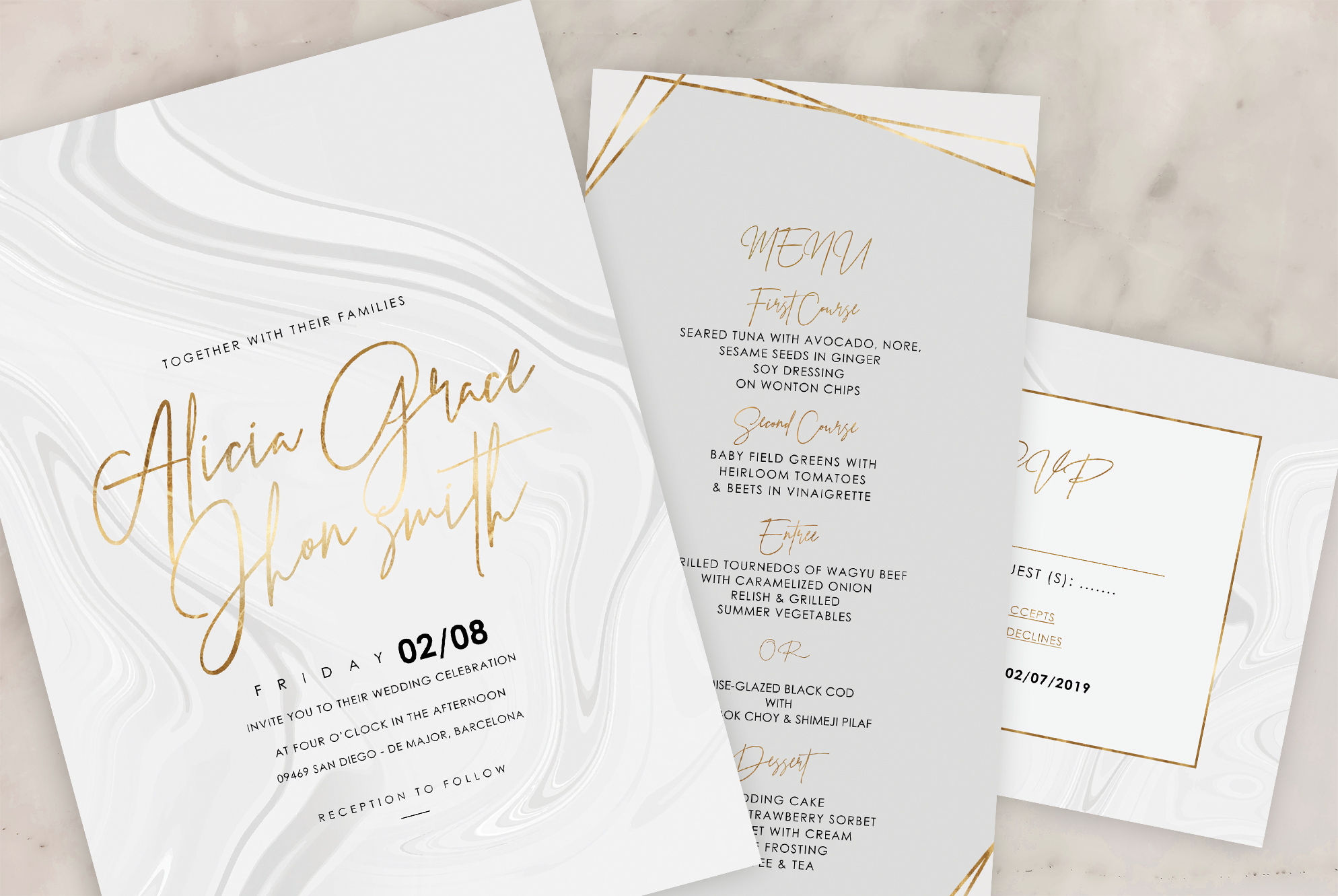 Marble Wedding Invitation - 6 Collections example image 3