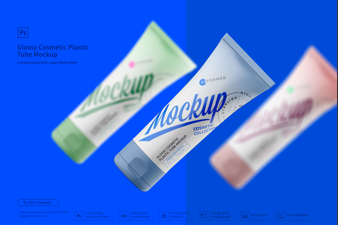 Cosmetic Plastic Tube Mockup Poster example image 2