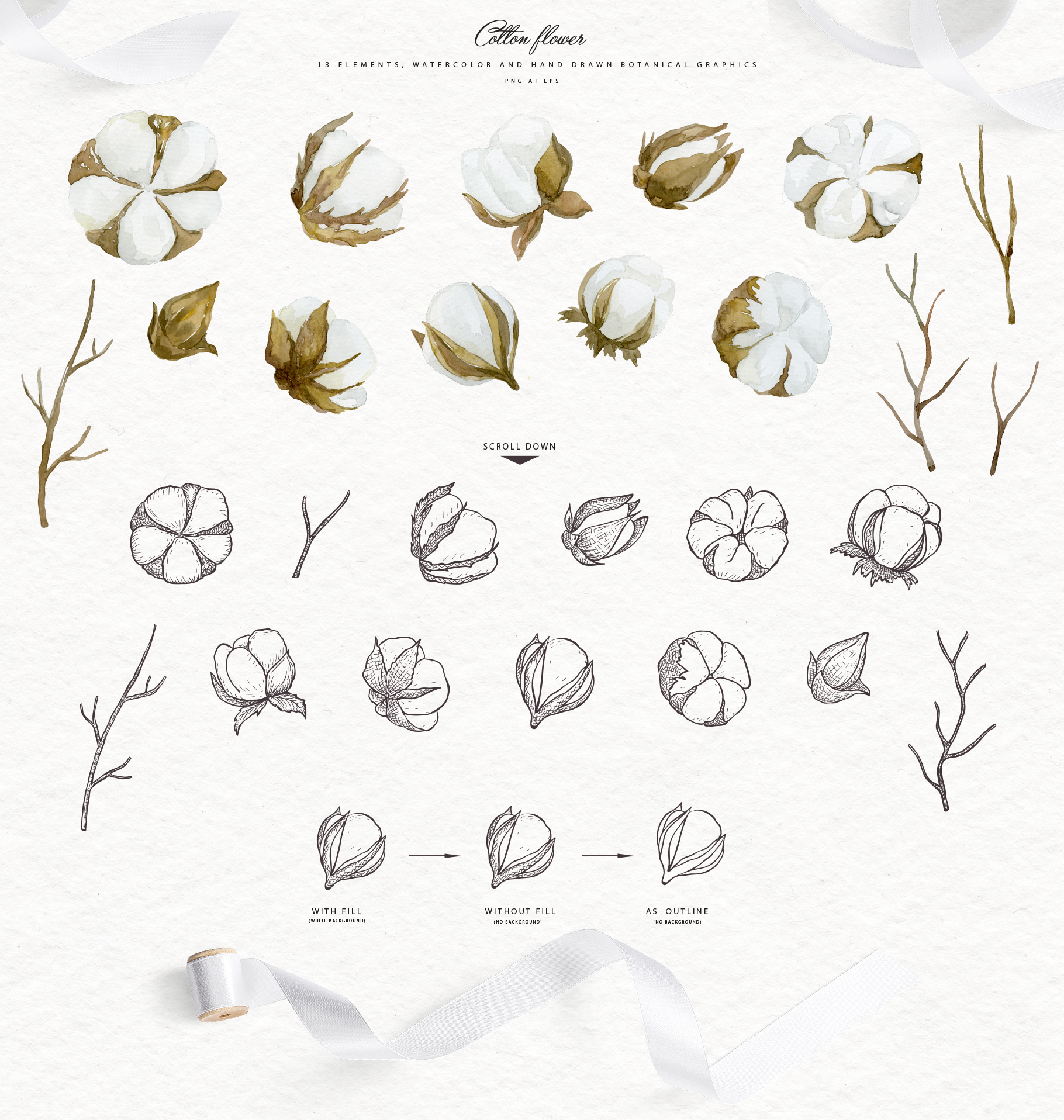 White Magnolia and Cotton. Trendy Greenery example image 5
