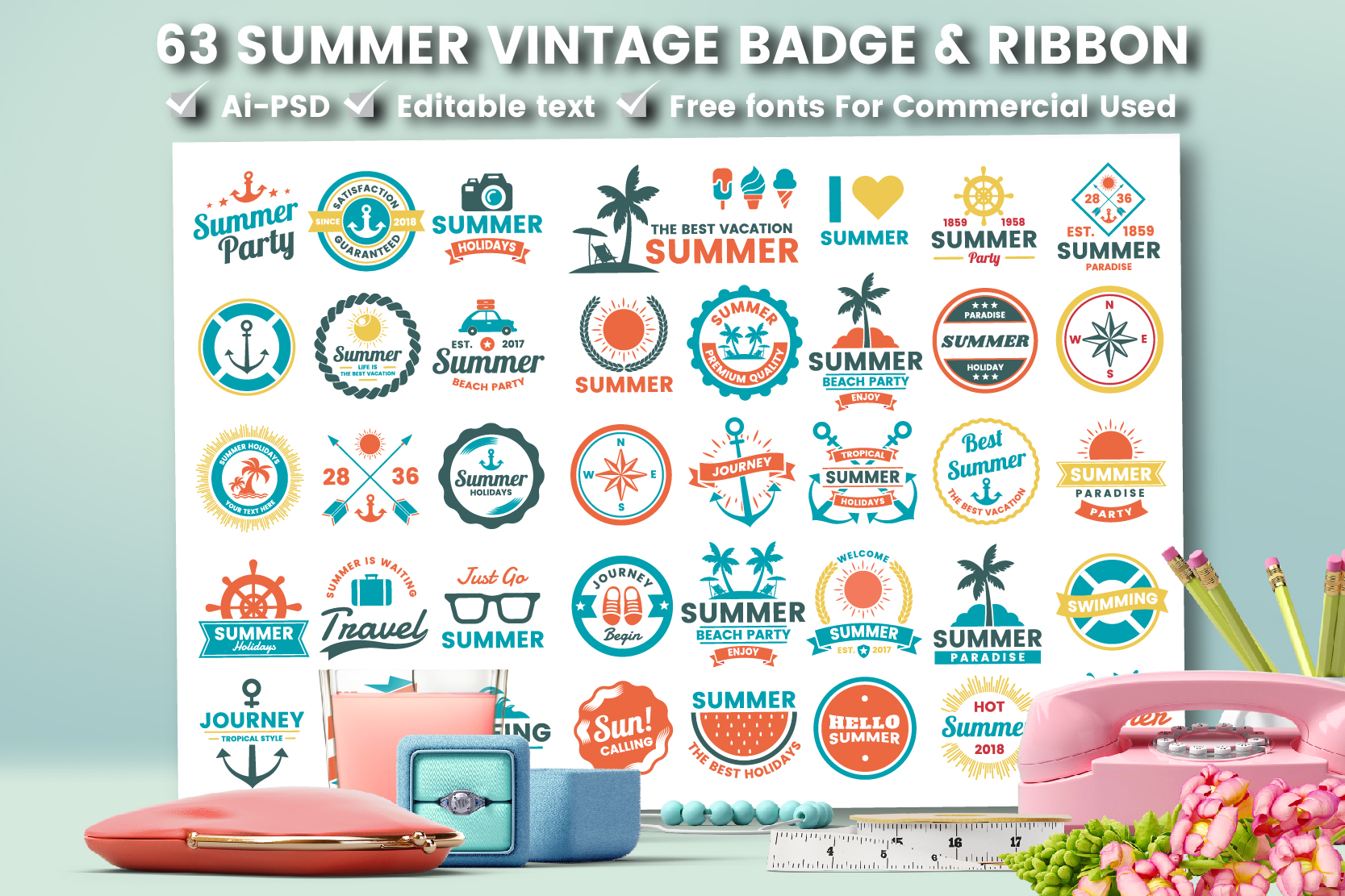 63 SUMMER VINTAGE BADGE & RIBBON example image 2
