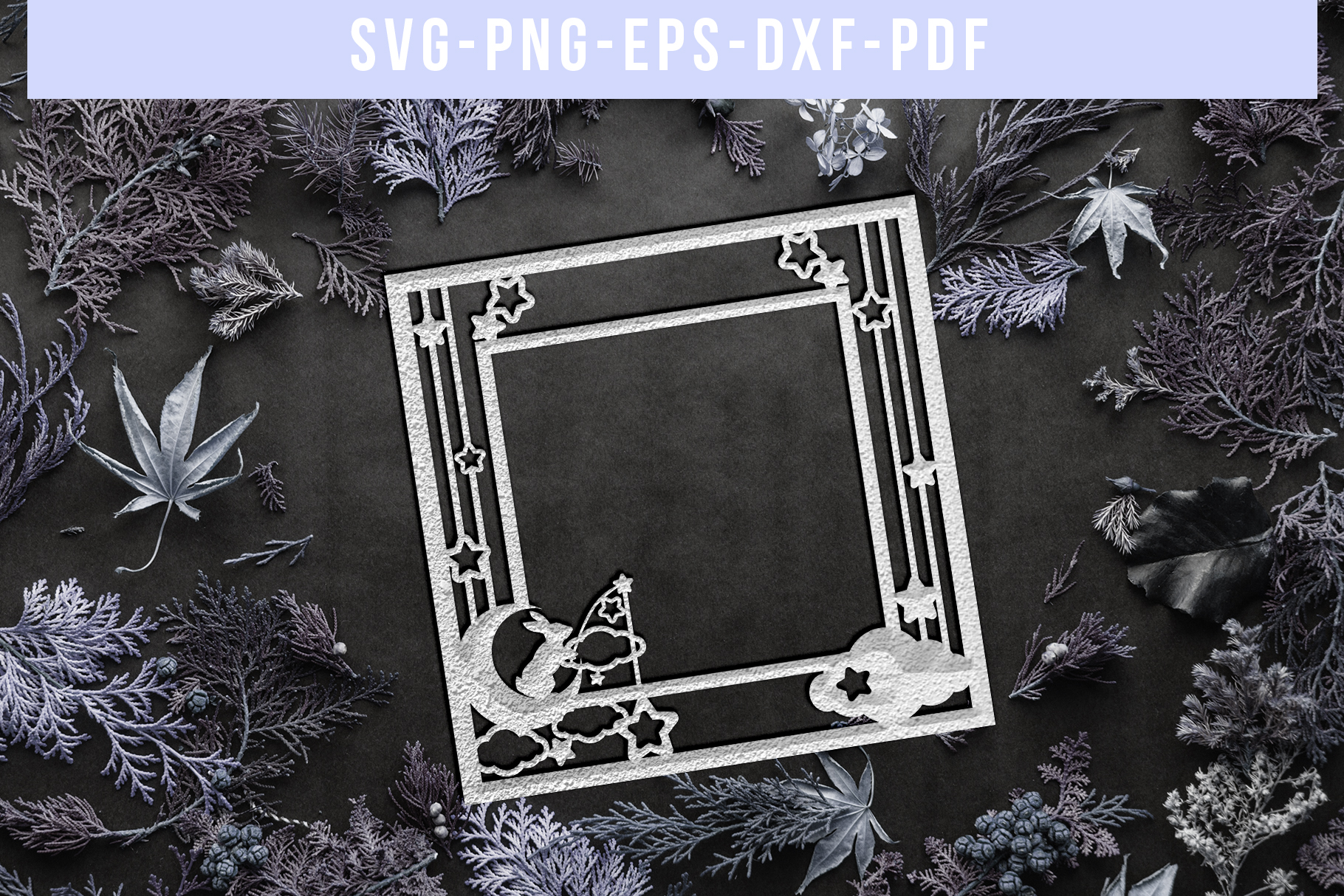 Square Photo Frame Papercut Template, Baby Cut File SVG, DXF example image 5