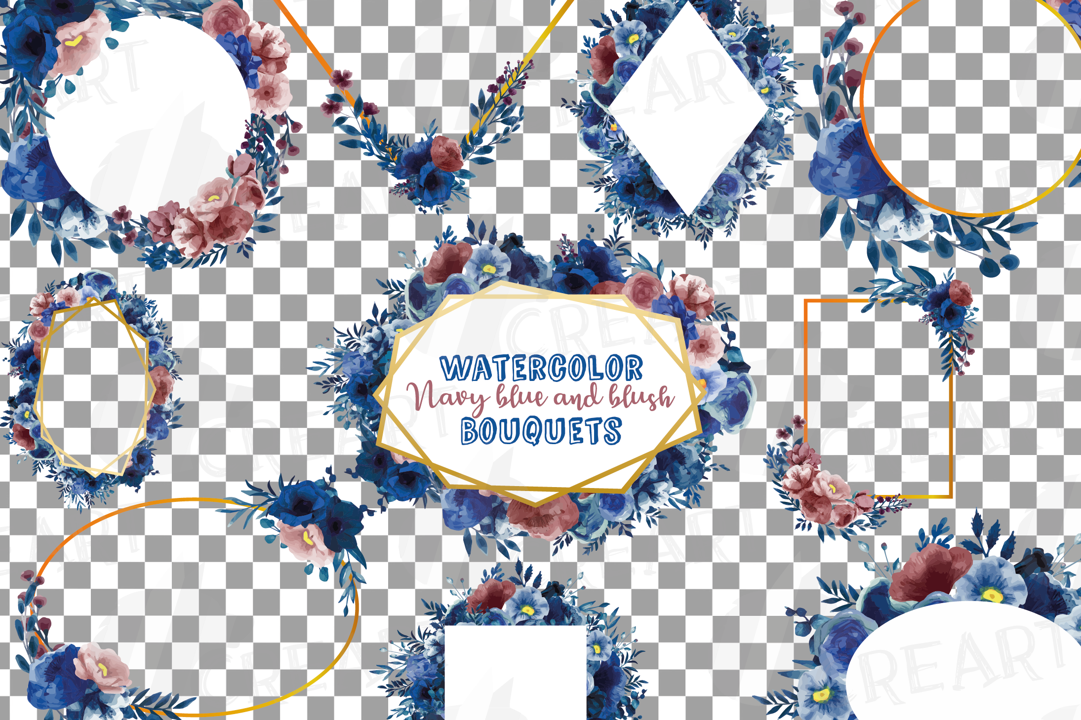 Watercolor elegant navy blue and blush floral borders vector example image 15
