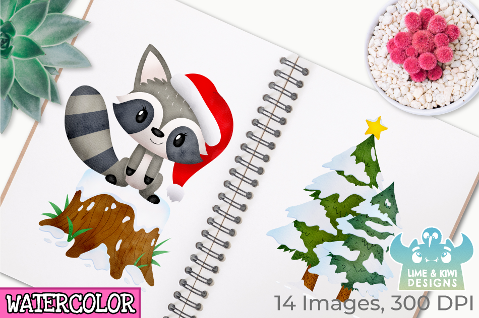 Christmas Raccoons Watercolor Clipart, Instant Download example image 3