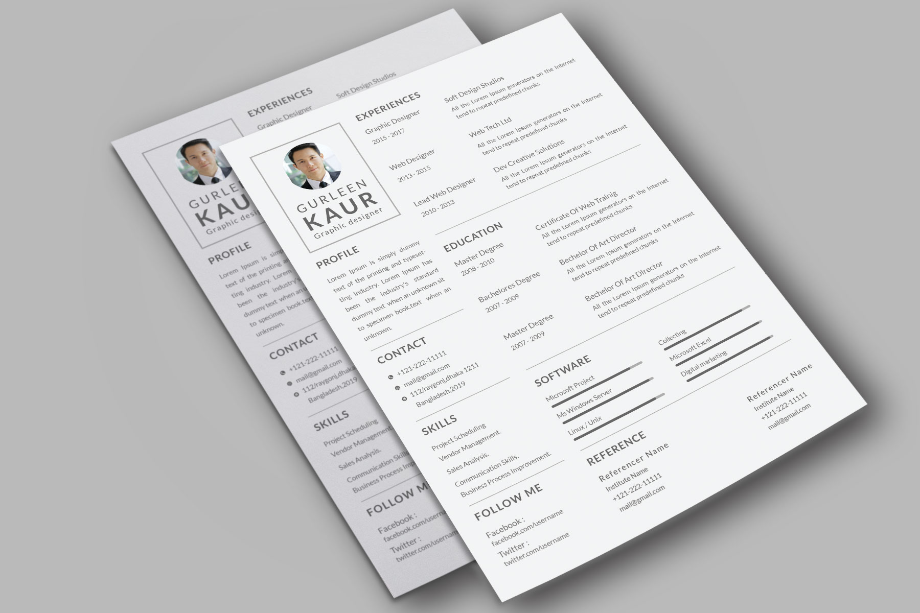 Professional Cv Resume Bonus business card Word/PSD,AI example image 10