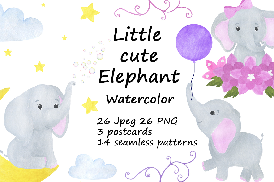 Set of illustrations of a cute little watercolor elephant example image 1