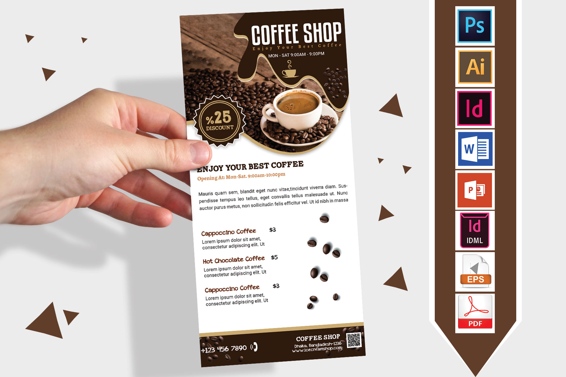 Rack Card | Coffee Shop DL Flyer Vol-03 example image 1