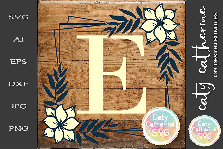 Letter E Floral Monogram Frame SVG Cut File example image 1