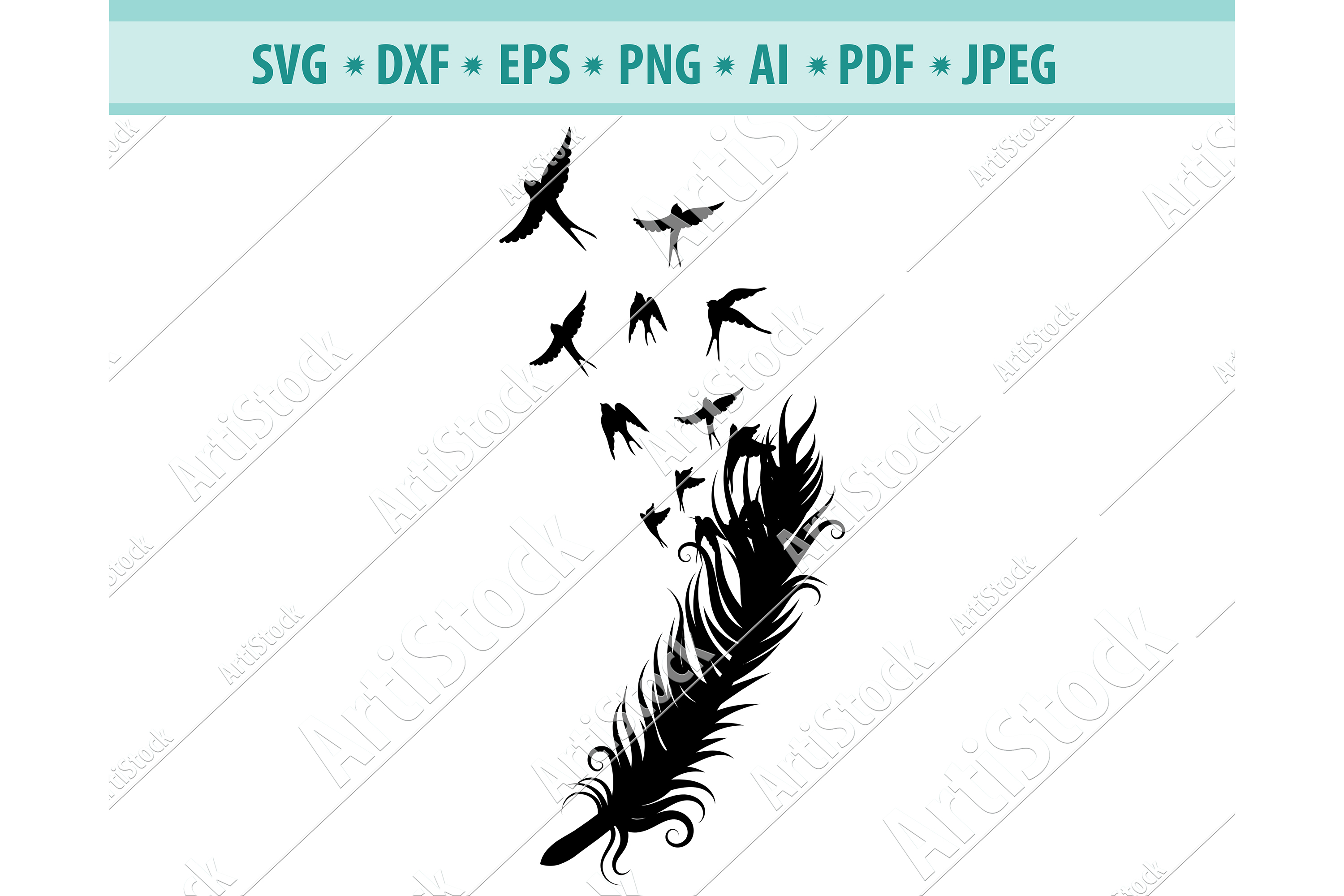 Feather to Birds Svg, Dove feathers Svg, Gift Dxf, Png, Eps example image 1