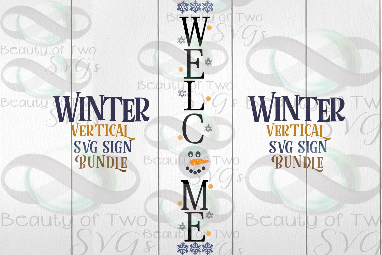 Winter Vertical svg Sign Bundle, 4 Winter svg designs example image 4