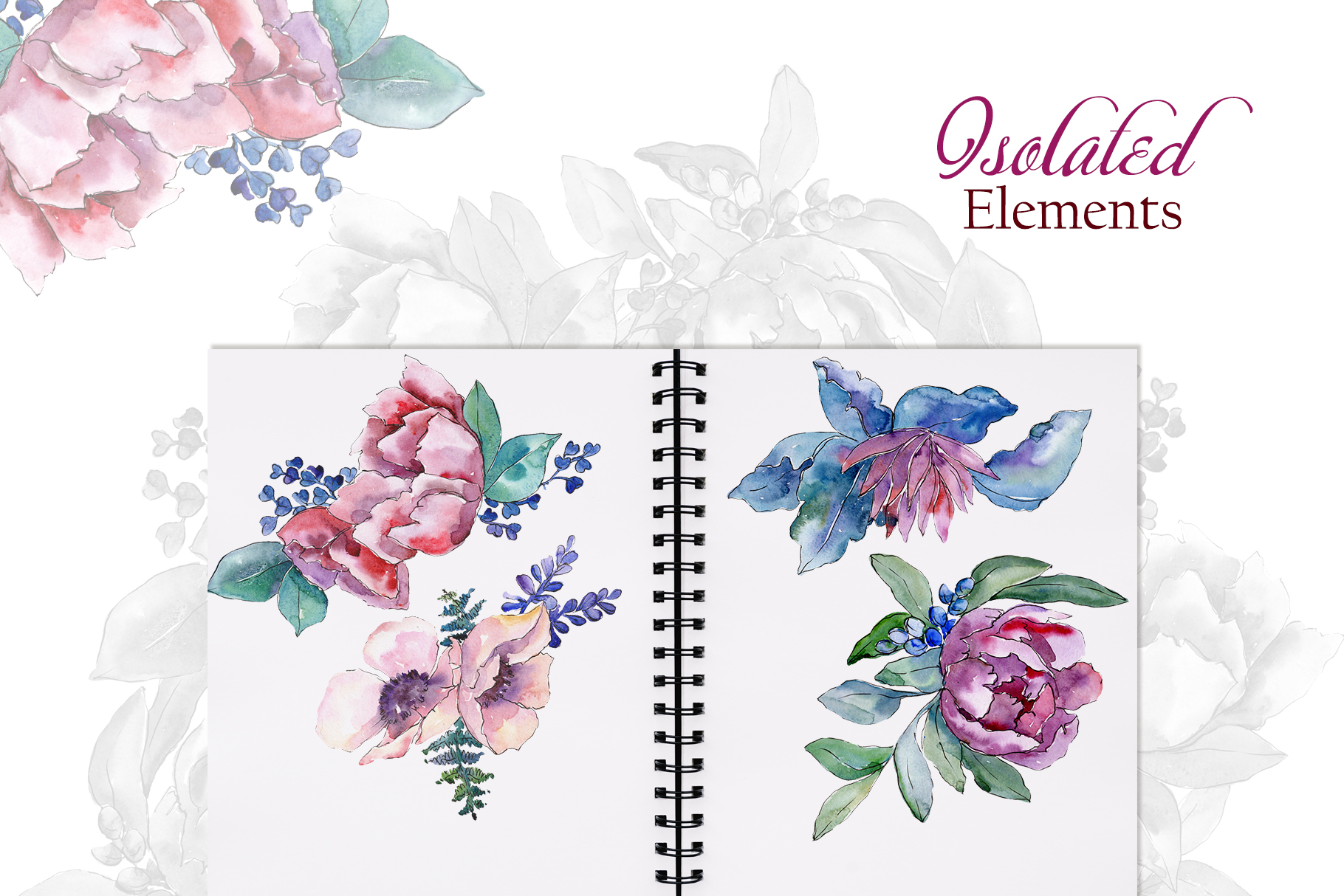 Bouquets with peonies Phuket Watercolor png example image 7