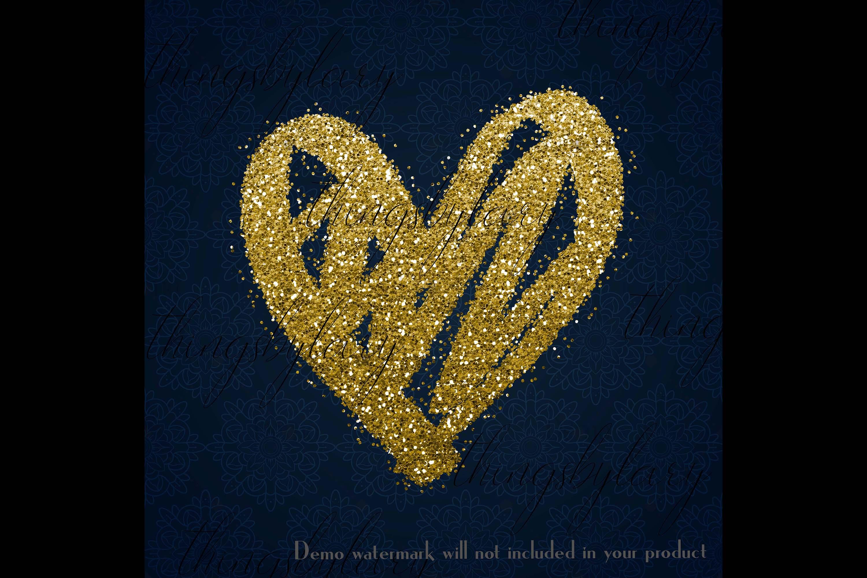 30 Gold Glitter Hand Drawn Heart Clip Arts Wedding Valentine example image 2