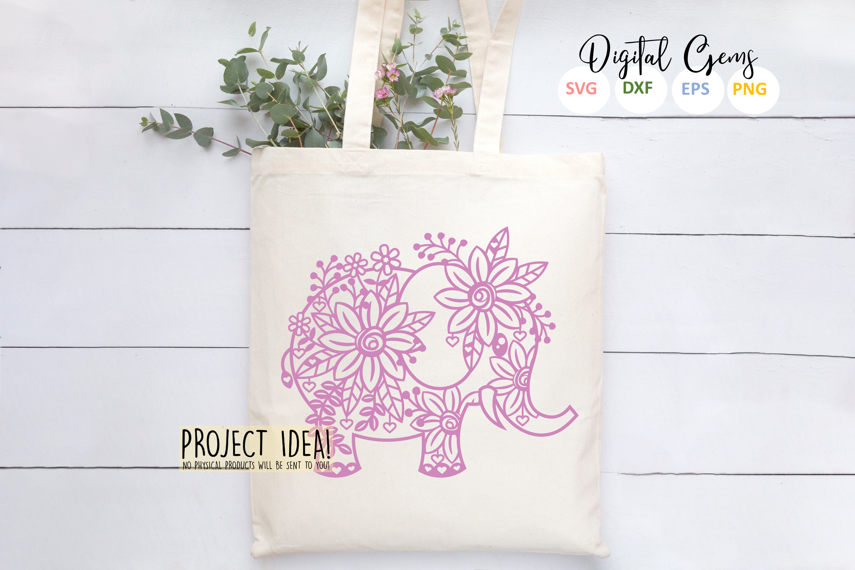 Elephant paper cut design SVG / DXF / EPS / PNG files example image 4