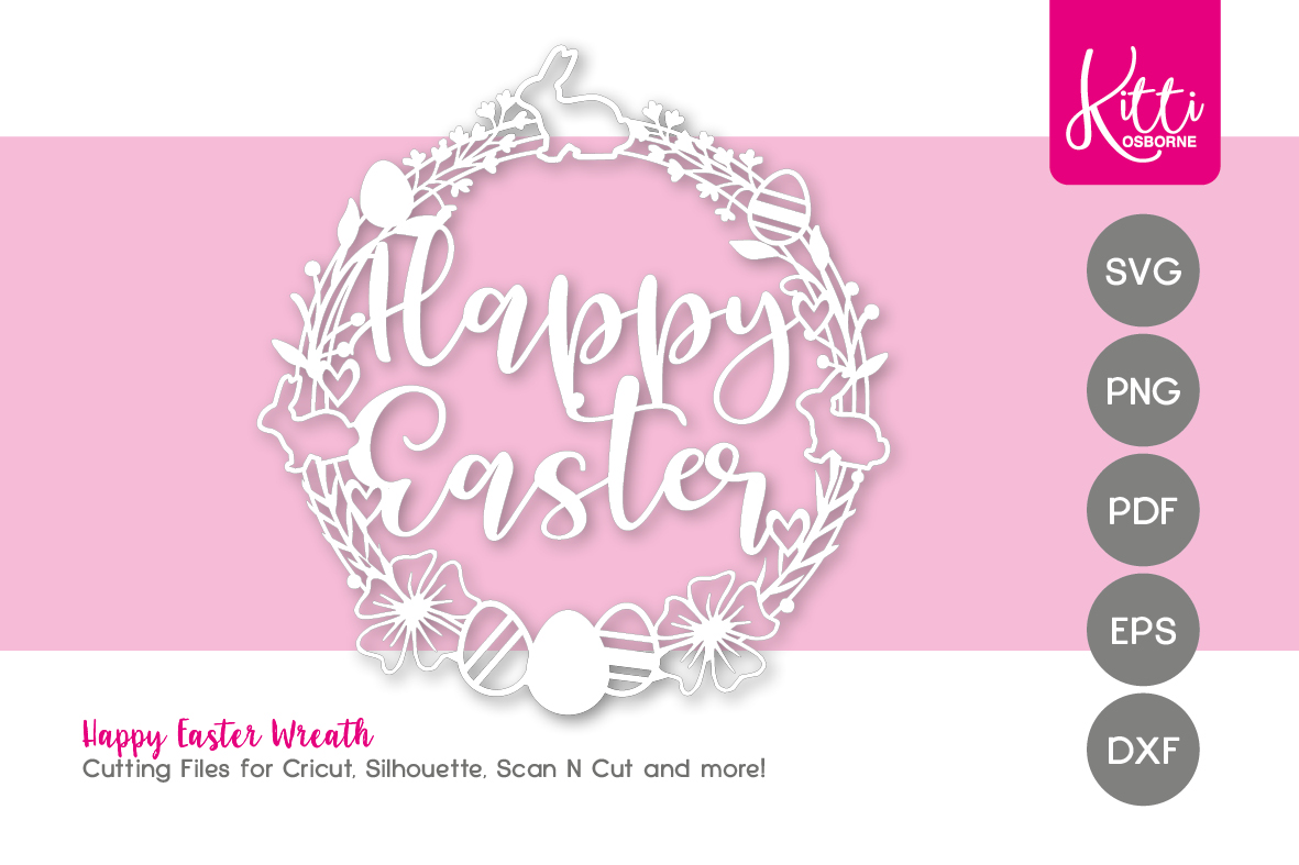 Happy Easter Papercut Wreath Frame example image 1