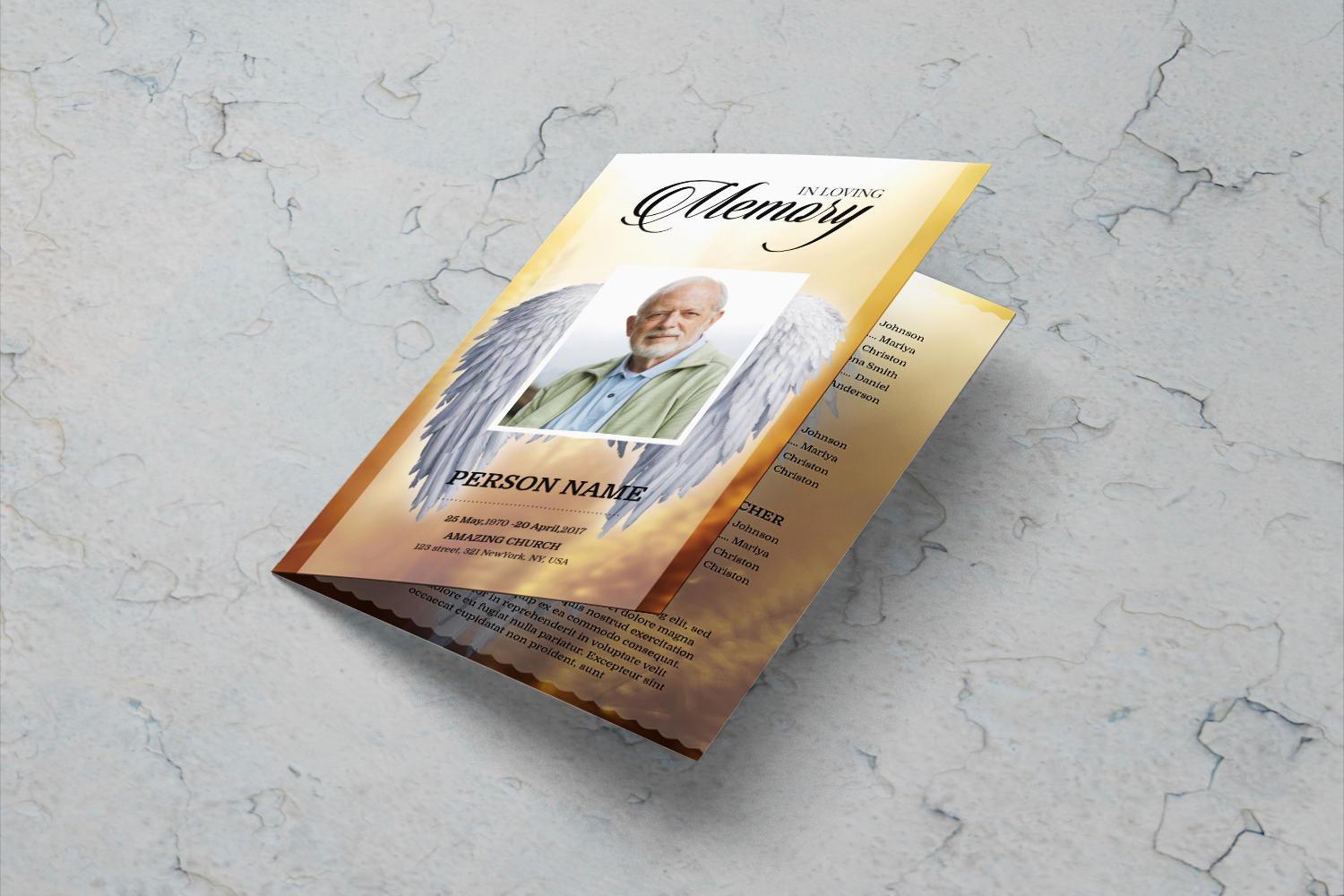 Angel Wing funeral program template example image 4