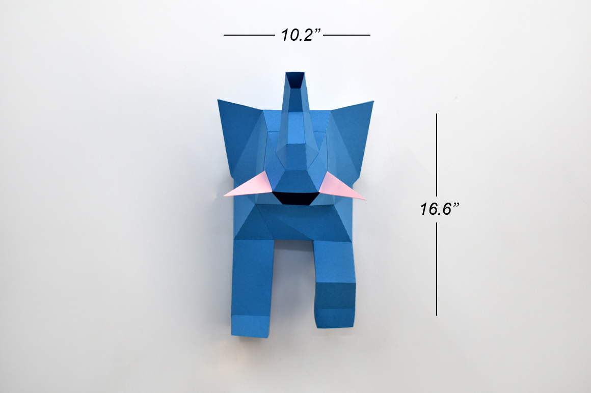 DIY Elephant trophy - 3d papercraft example image 3