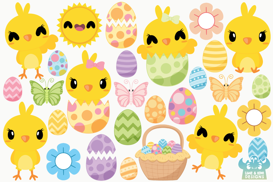 Easter Chicks Clipart, Instant Download Vector Art example image 2