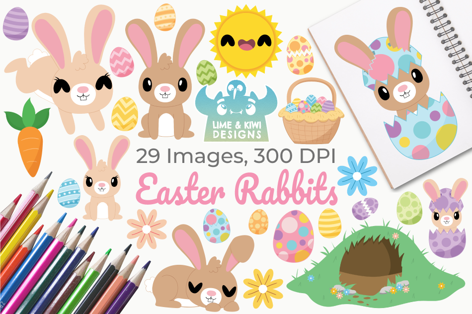 Easter Rabbits Clipart, Instant Download Vector Art example image 1