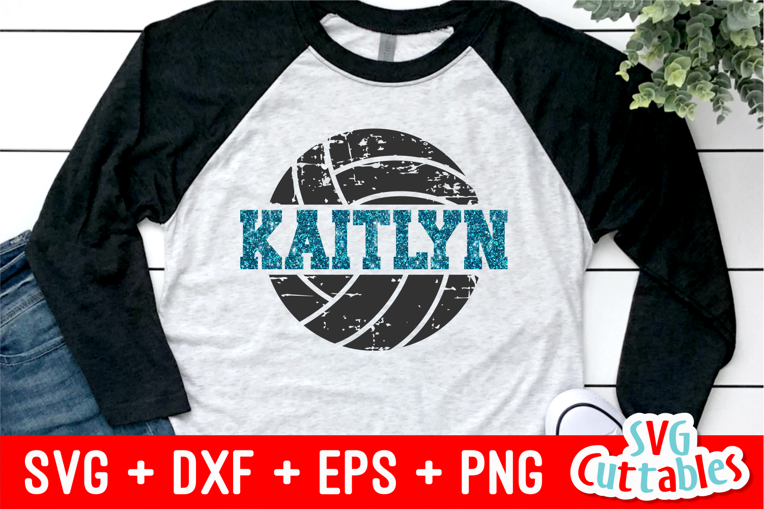 Distressed Split Volleyball | SVG Cut File example image 1