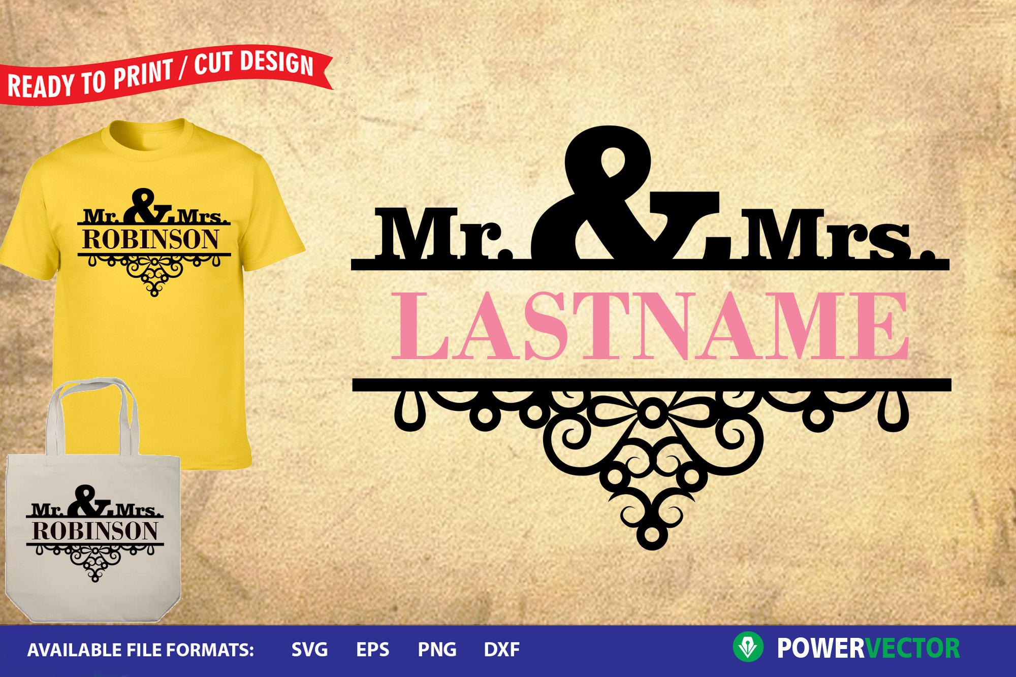 Mr and Mrs SVG Cut File   Wedding Split monogram Frame example image 1