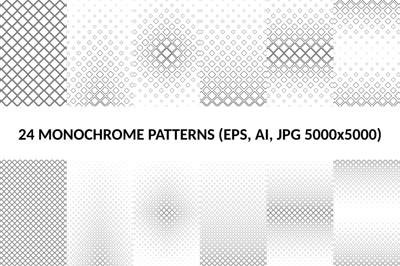 24 Square Patterns (AI, EPS, JPG 5000x5000) example image 1