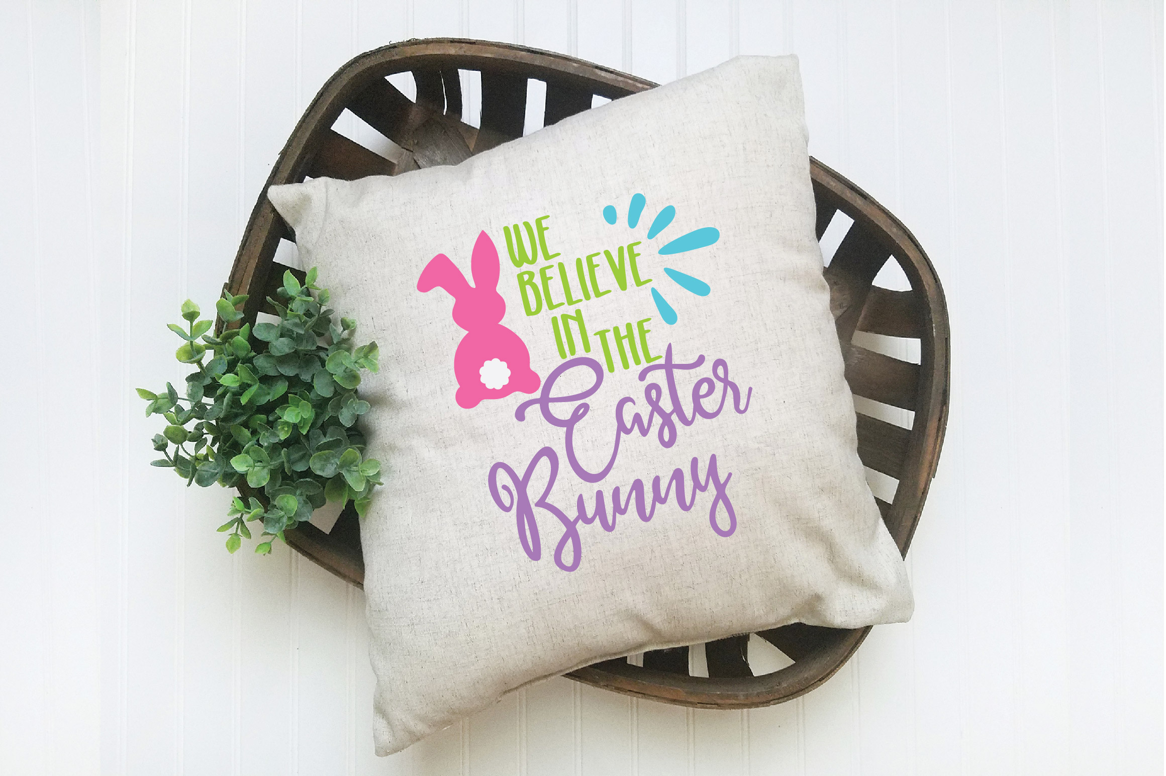 Easter SVG Cut File - We Believe in the Easter Bunny SVG DXF example image 3