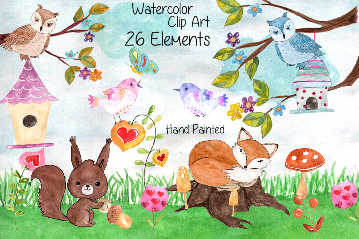 Watercolor forest animals clip art example image 1