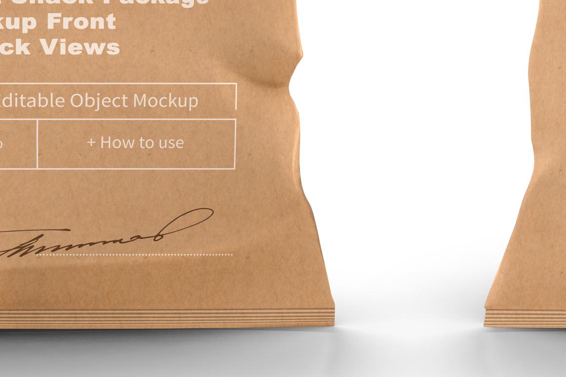 Kraft Snack Package Mockup Front & Back Views example image 7