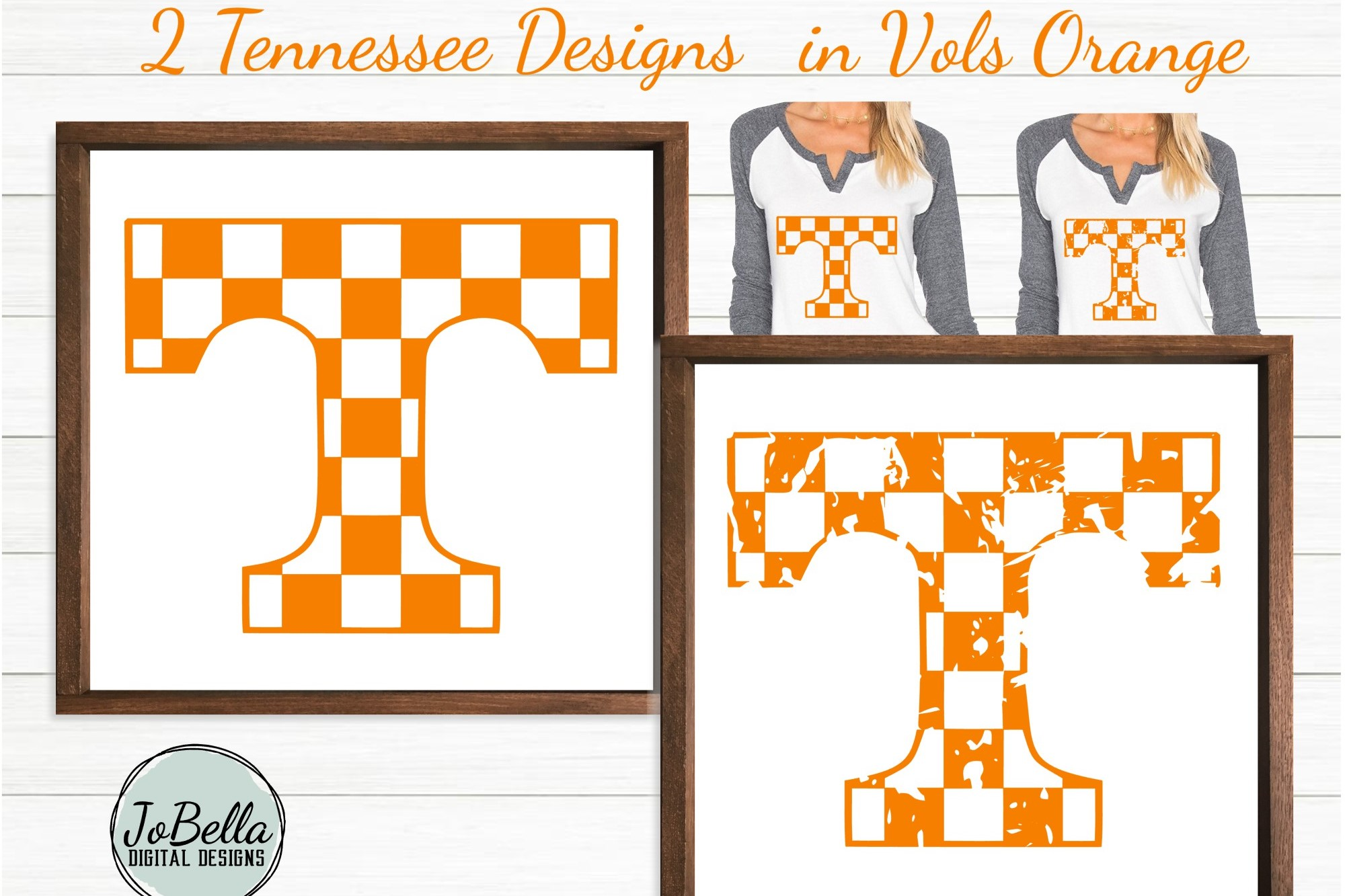 Checkered Tennessee T SVG and Printable Design Bundle example image 3