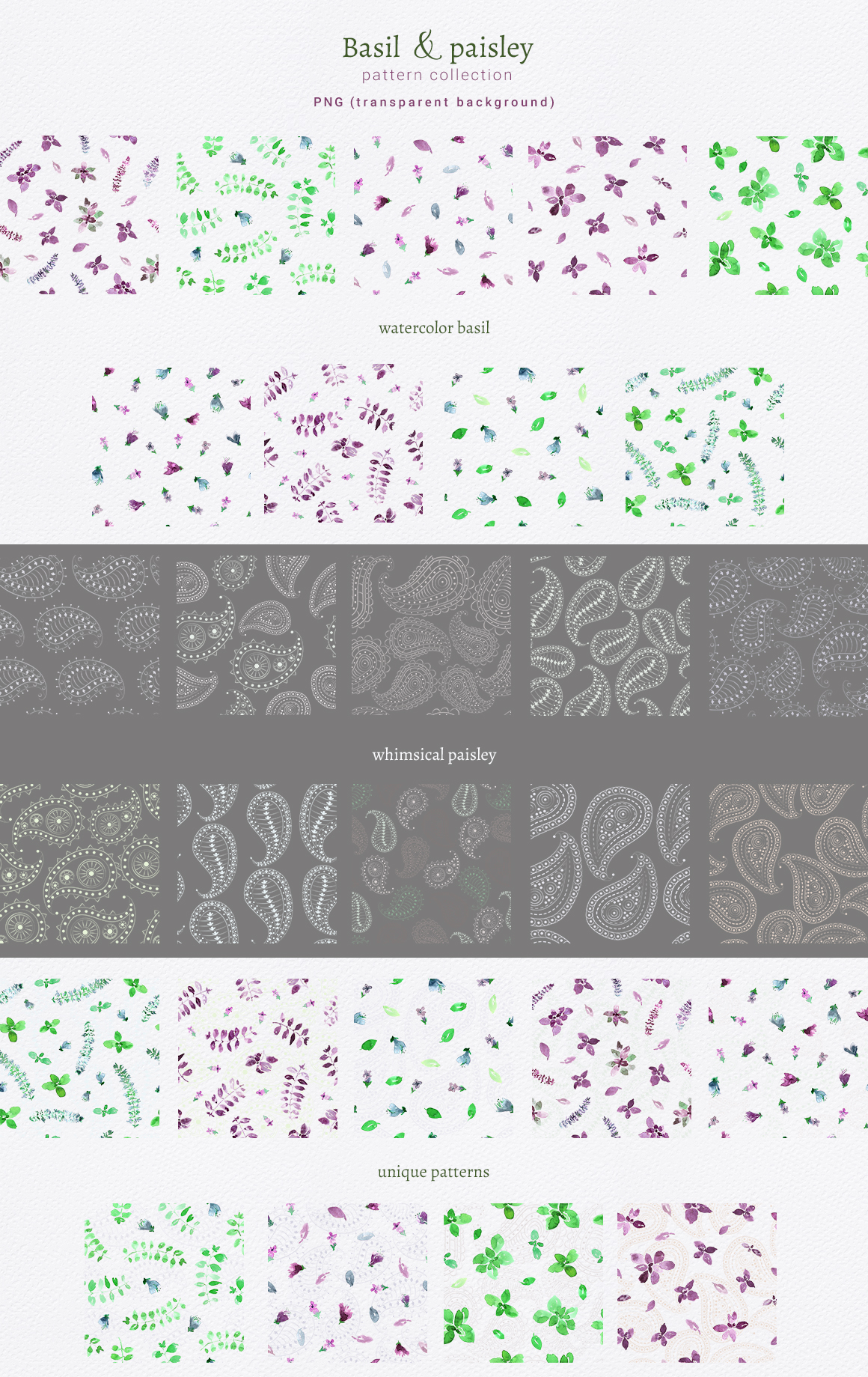 Basil & Paisley - pattern collection example image 5