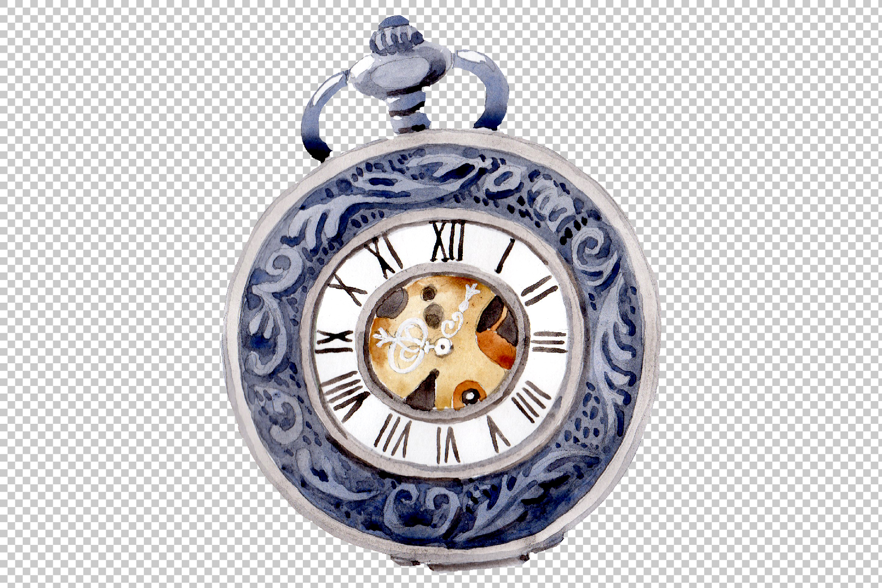 Clock old watercolor png example image 3