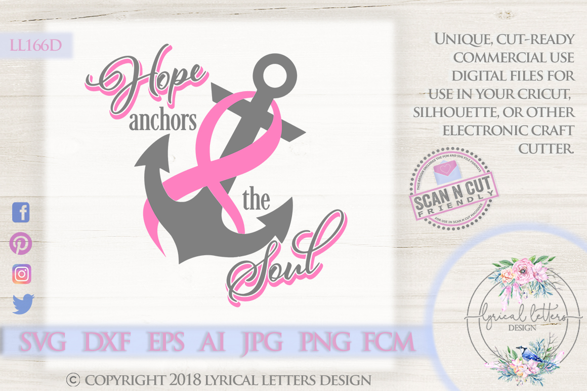 Hope Anchors the Soul Breast Cancer Pink Ribbon SVG LL166D example image 1