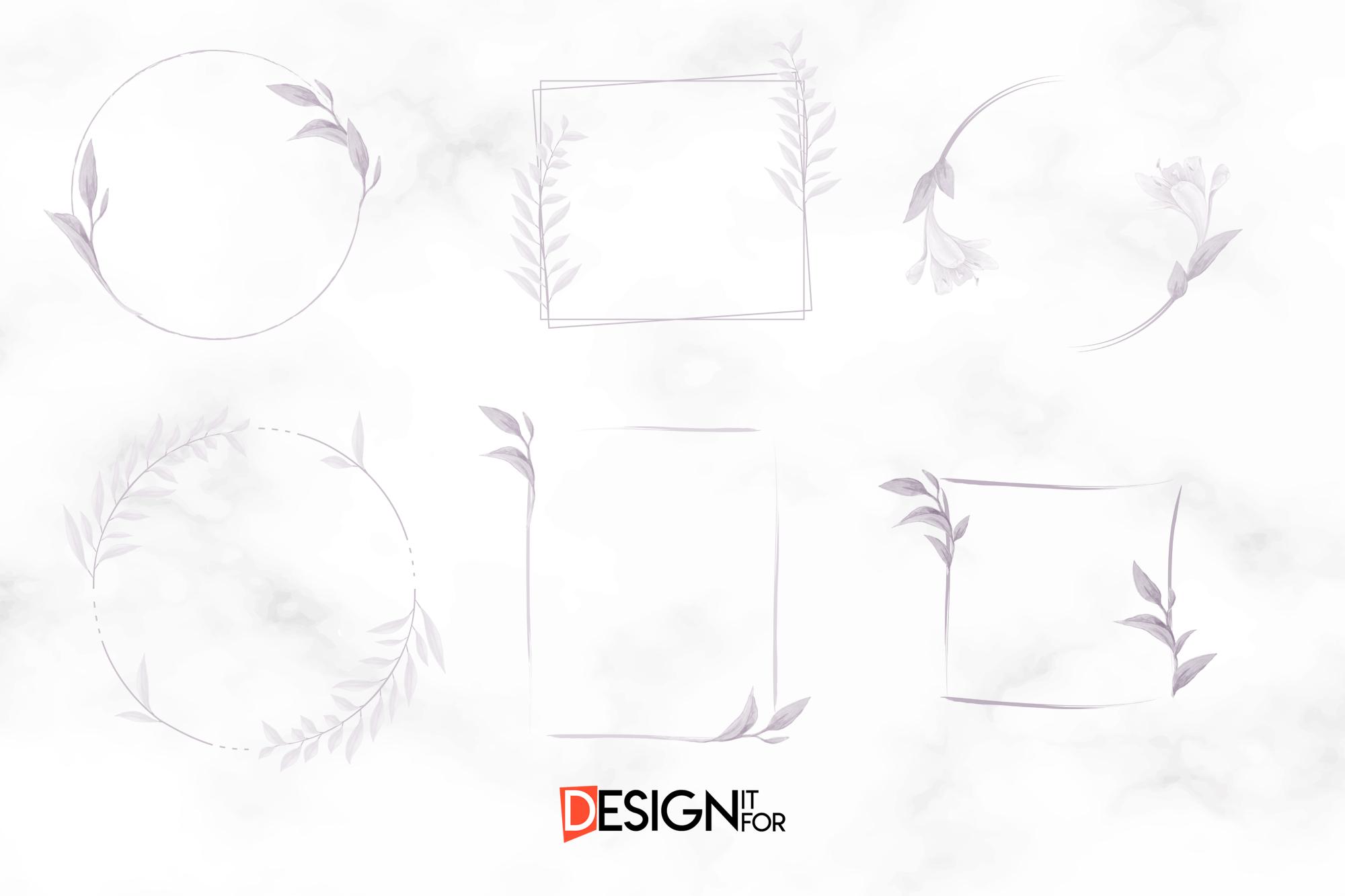 Floral Frame Clipart, Laurel Wreath, clip art, scrapbooking example image 2