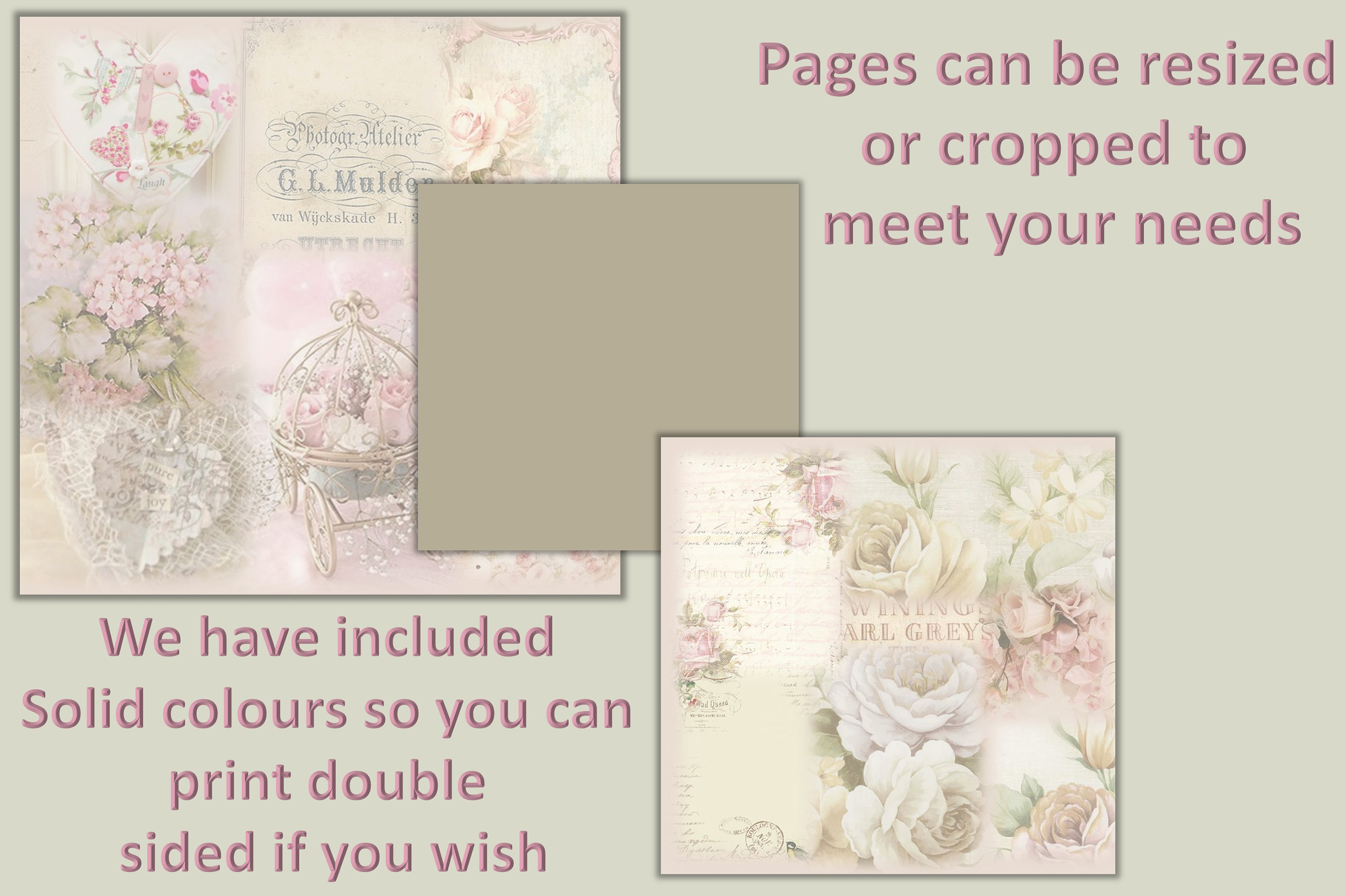 Vintage Shabby Chic Scrapbook Paper 12 x 12 example image 3