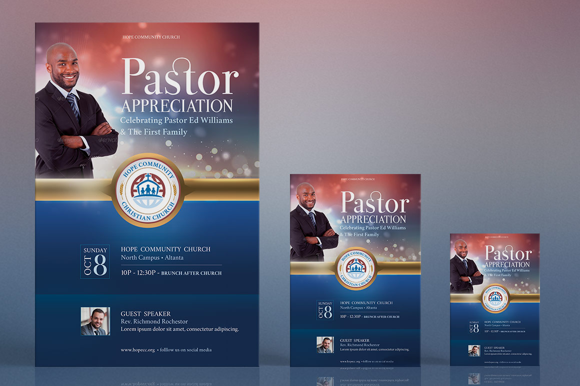 pastor appreciation flyer poster template - Pastor Business Cards