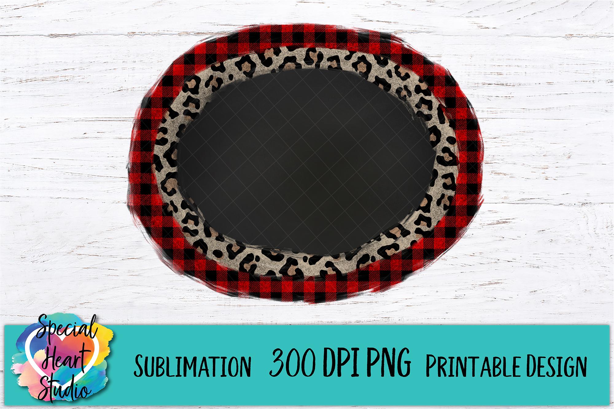 Buffalo Plaid Leopard Frame - Christmas Sublimation example image 1