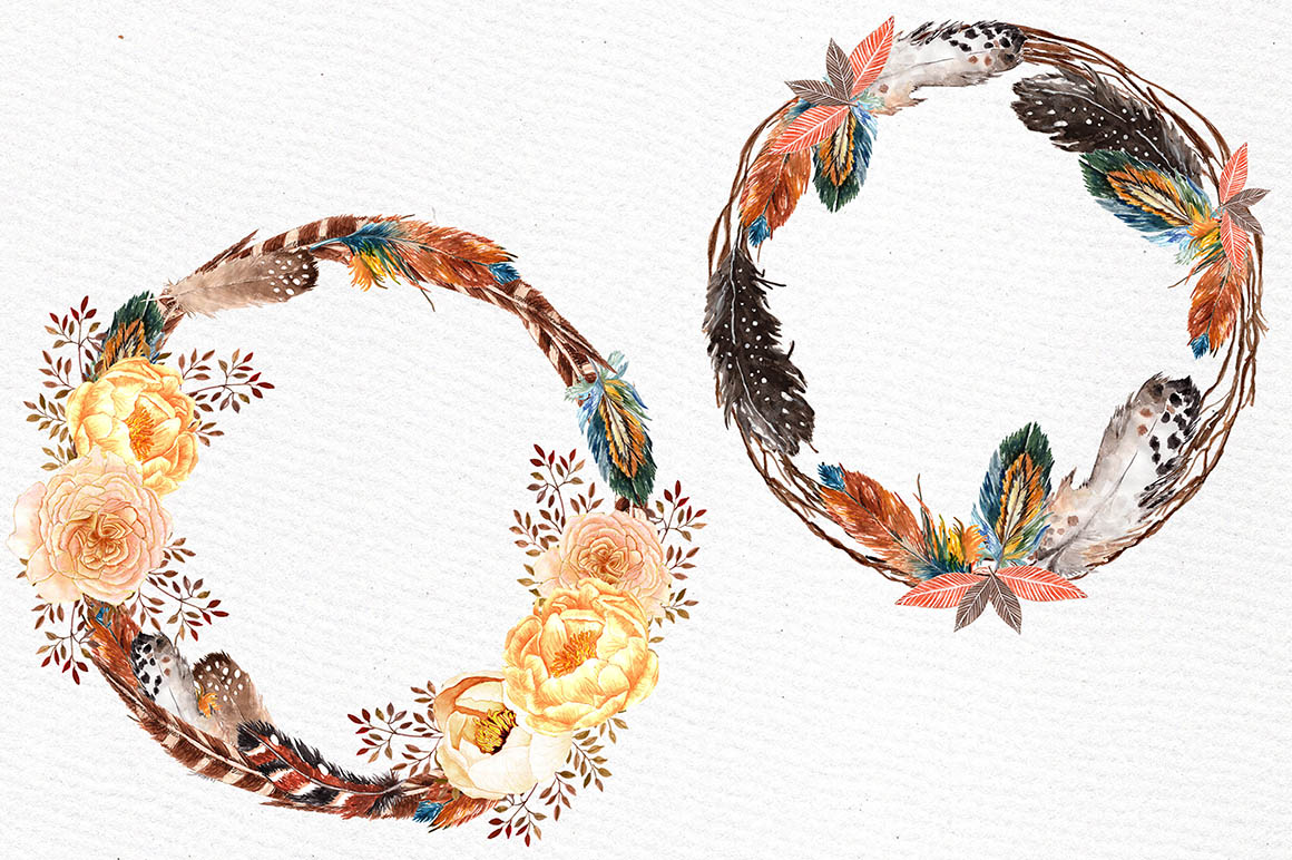 Watercolor feather wreaths clipart example image 3