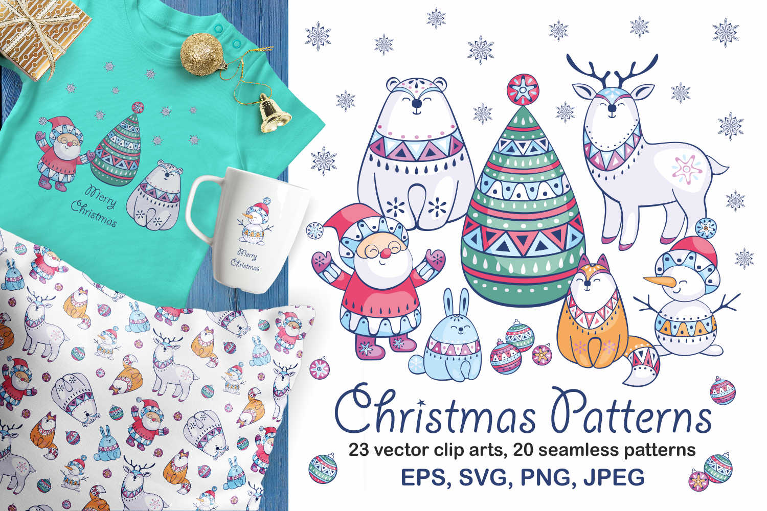 Christmas bundle. Vector cliparts and seamless patterns example image 5