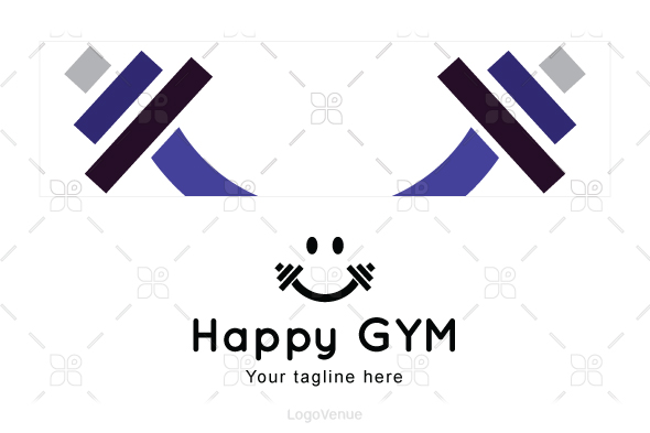 Happy Gym - Health & Fitness Stock Logo Template example image 3