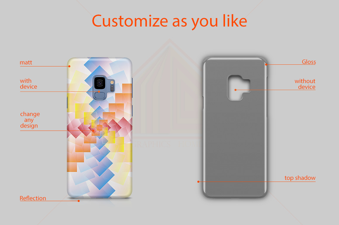 Samsung Galaxy S9 3D Case Design Mockup Back View example image 2