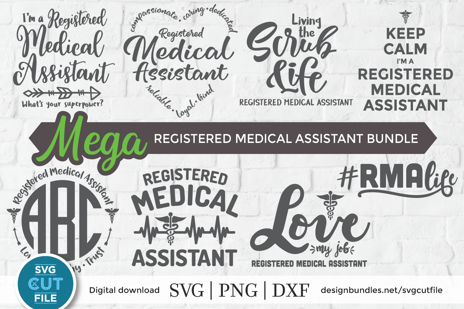 Registered Medical Assistant svg bundle, RMA svg bundle dxf example image 1
