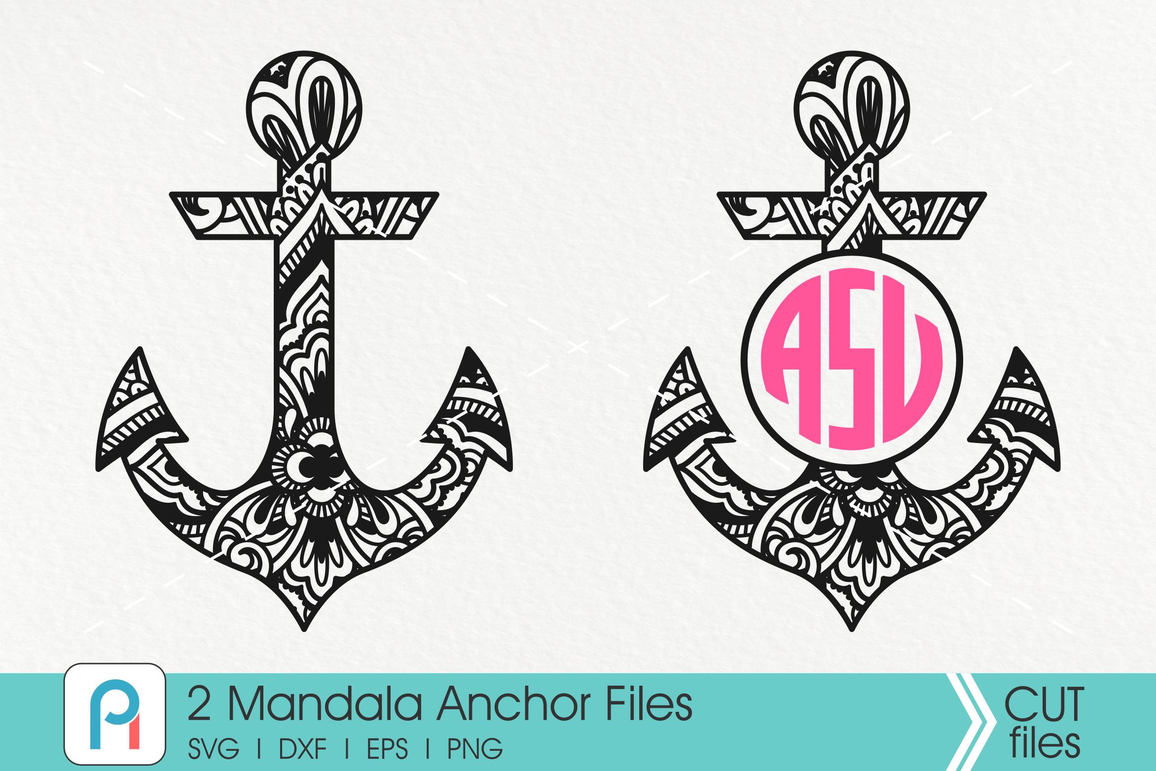 Mandala Anchor Svg, Zentangle Anchor Svg, Mandala Svg example image 1