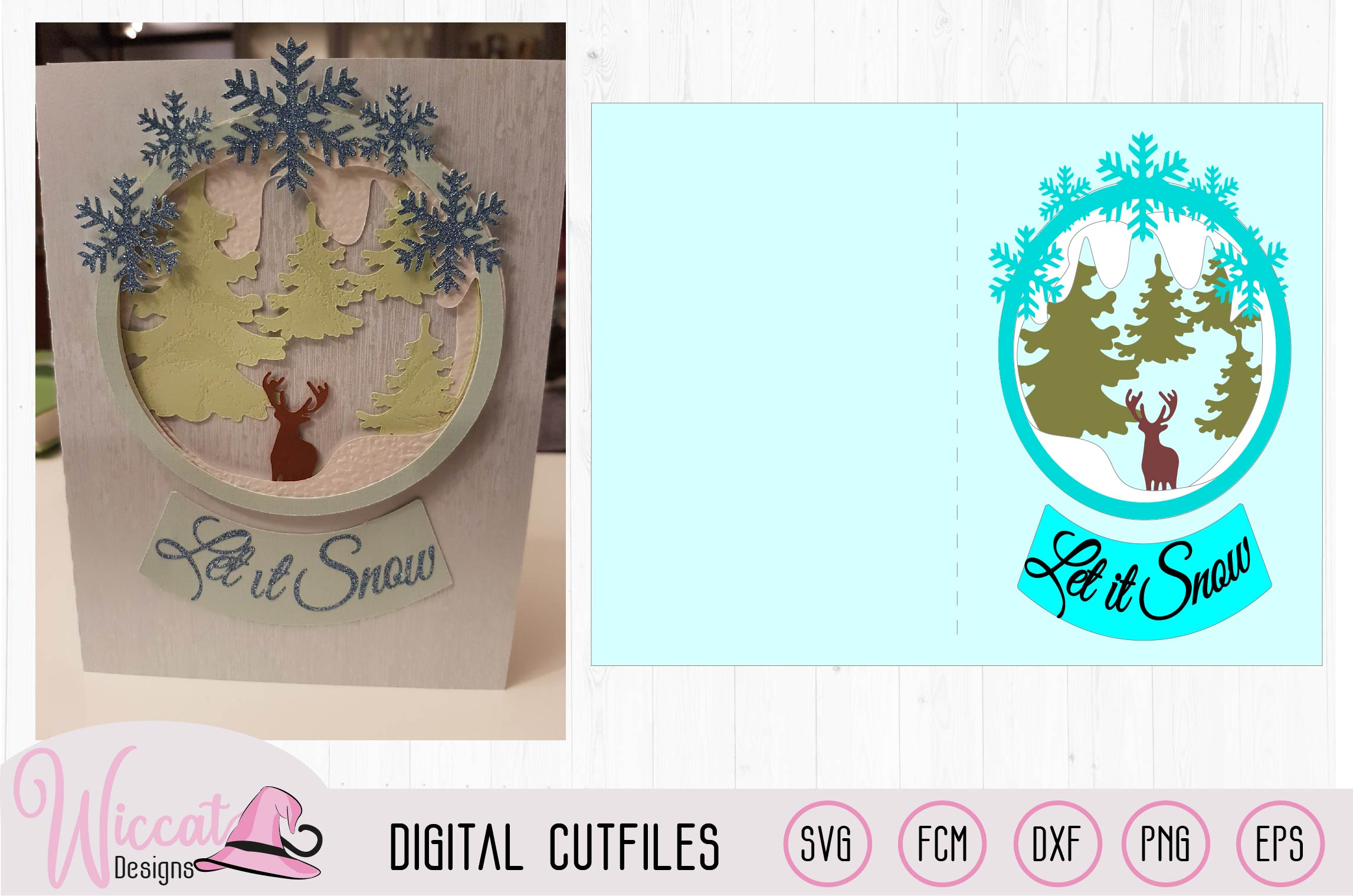 Snow globe Christmas card, Card Template, Reindeer Woodland example image 2