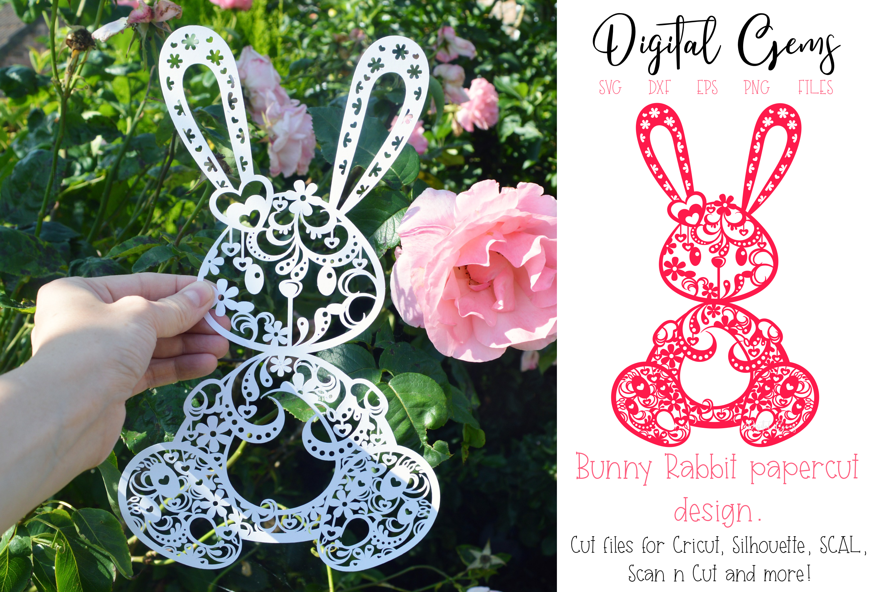 Rabbit paper cut design. SVG / DXF / EPS / PNG files example image 1