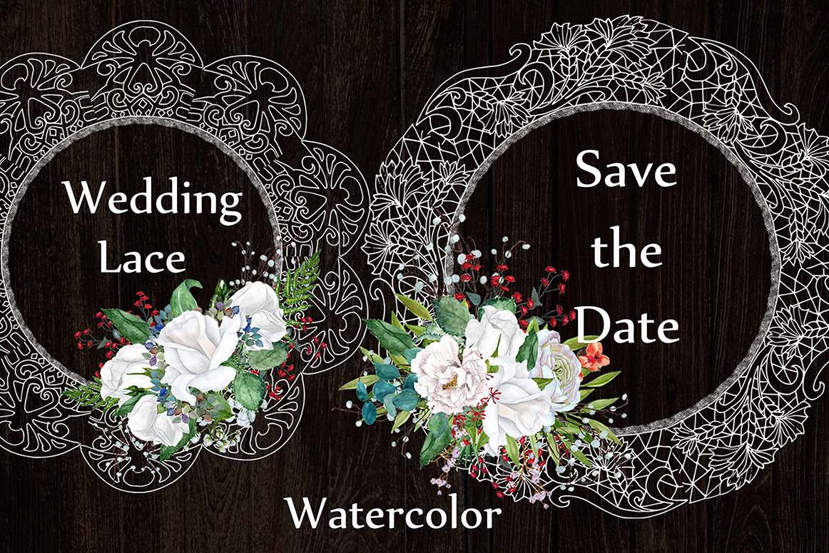 White lace floral frames clipart example image 4
