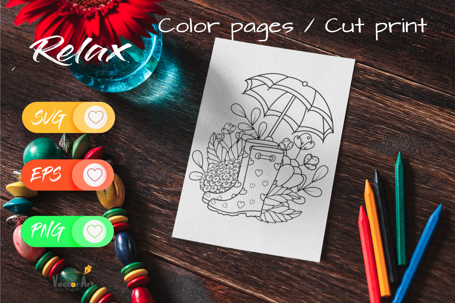 7x Easter and Spring - Mini Bundle - SVG and Coloring Page example image 8
