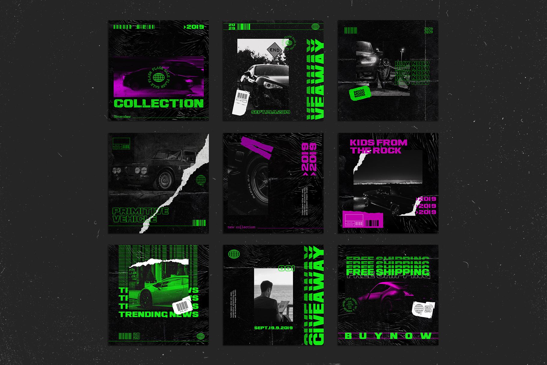 Neon Instagram Templates example image 4