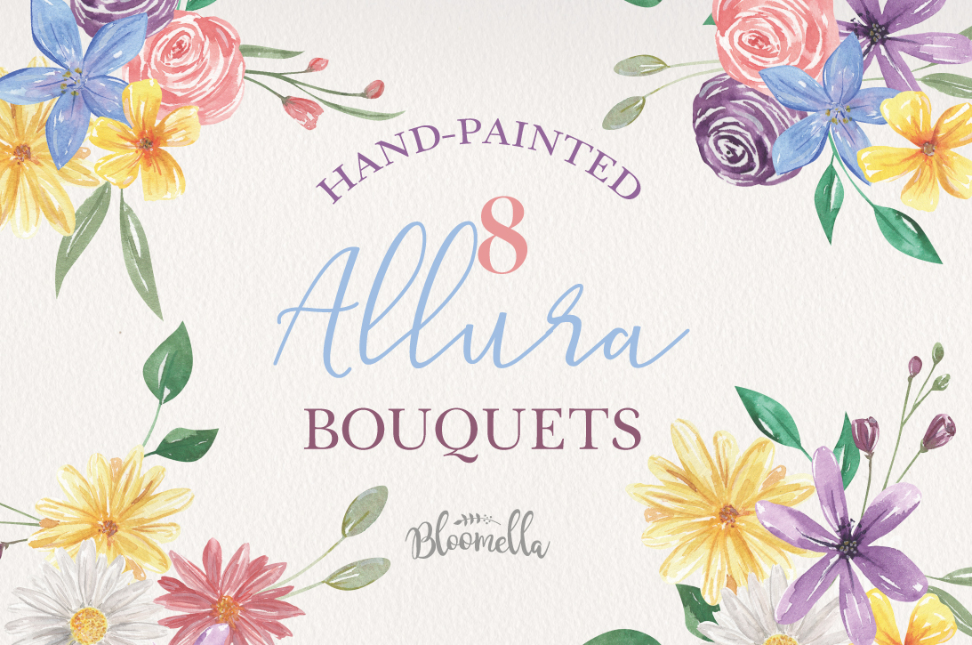 Allura Flowers 8Bouquets Watercolor Daisy Florals Pink Arch example image 1